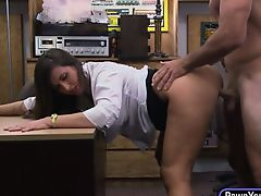 Average tits and nice ass babe rammed in the pawnshop