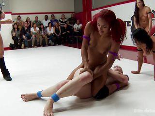 girls get kinky on the wrestling arena