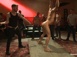 gay hunk slave is collared and whipped