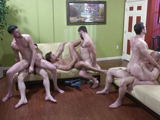 six sexy men get into a huge jizz orgy