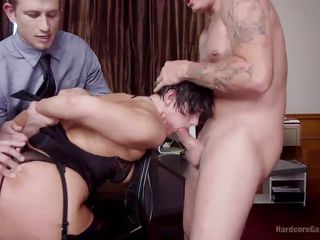 short-haired brown hair gets group-fucked