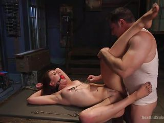 bonded redhead gets awfully pounded