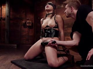 unseeing abella gets clamped and buzzed