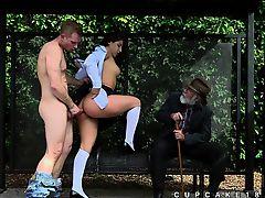 Abella Danger doggy style public sex