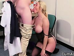 Decadent idol gets sperm shot on her face sucking all the love