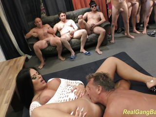 hot busty ashley cum in real gangbang