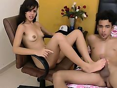 Charming brunette teen footjob for boyfriend on webcam