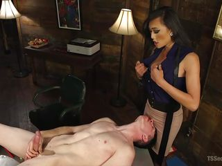 shemale hottie venus makes her slave stroke his penis
