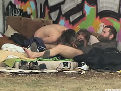 Pure Street Life Homeless Threesome Having Fucking action on Public