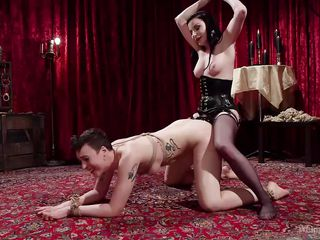 strap-on anal fuck in tough female-on-female bdsm rencounter