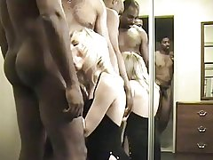 Hot Blonde Wife Gets Gangbanged and Creampied by 4 Black Guys.elN