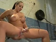 Busty babe with nice ass pussy stimulate by water jet
