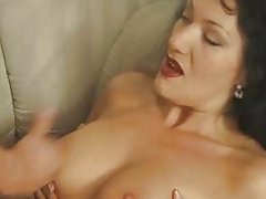 German cougar in stockings gets jizzed on by a young cock