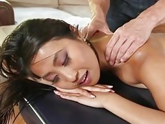 Sexy bodied naked asian cutie Sharon Lee gets massaged