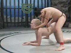Blonde And Brunette Babes Battle It Out In A Wrestling Match