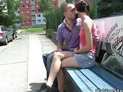 Naughty babe Natalia  gets to suck and fuck her BF's father's cock