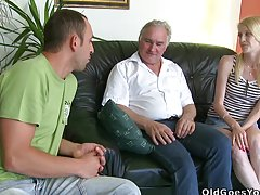 Slender babe gets fucked by her boyfriend and his father