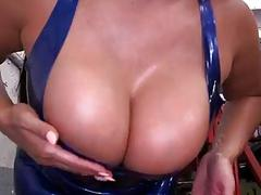 Latin chico Pulls Out Her Big Tits In Mechanic Shop
