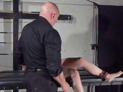 Amateur sub Louise in dungeon rack slaving